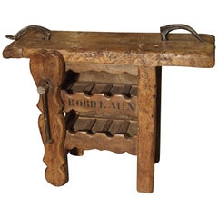 "Antique ""Bordeaux"" French Wine Carrier Converted from a Workbench"