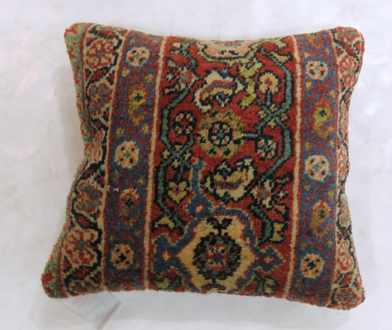 Rustic Antique Border Persian Rug Pillow in Red White and Blue For Sale