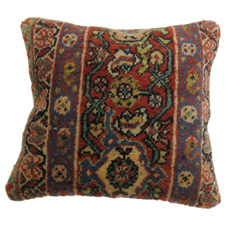Antique Border Persian Rug Pillow in Red White and Blue For Sale