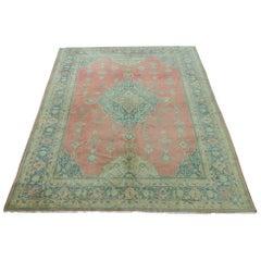 Antiker Bolou-Teppich, lachsfarben und türkis