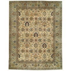 Antique Botanic Cream, Blue Persian Tabriz Hand Knotted Wool Rug