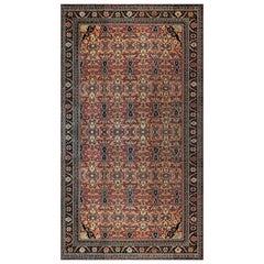 Antique Botanic Rust Background Persian Sultanabad Handmade Wool Rug