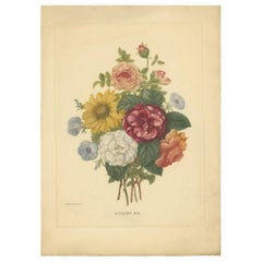 Antique Botany Print of a Bouquet of Various Flowers Made after P.J. Redouté