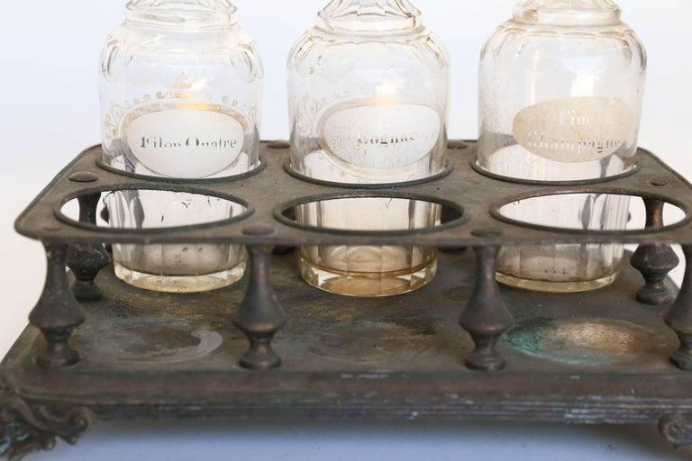 Etched Antique Bottle Holder with Bottles For Sale