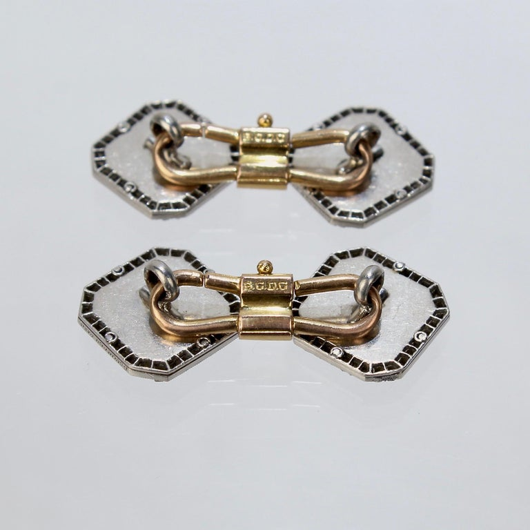 Antique Boucheron Platinum Diamond & 18 Karat Gold Cufflinks with Paillet Cameos For Sale 5