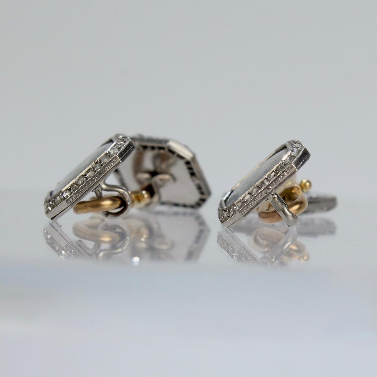 Antique Boucheron Platinum Diamond & 18 Karat Gold Cufflinks with Paillet Cameos For Sale 6