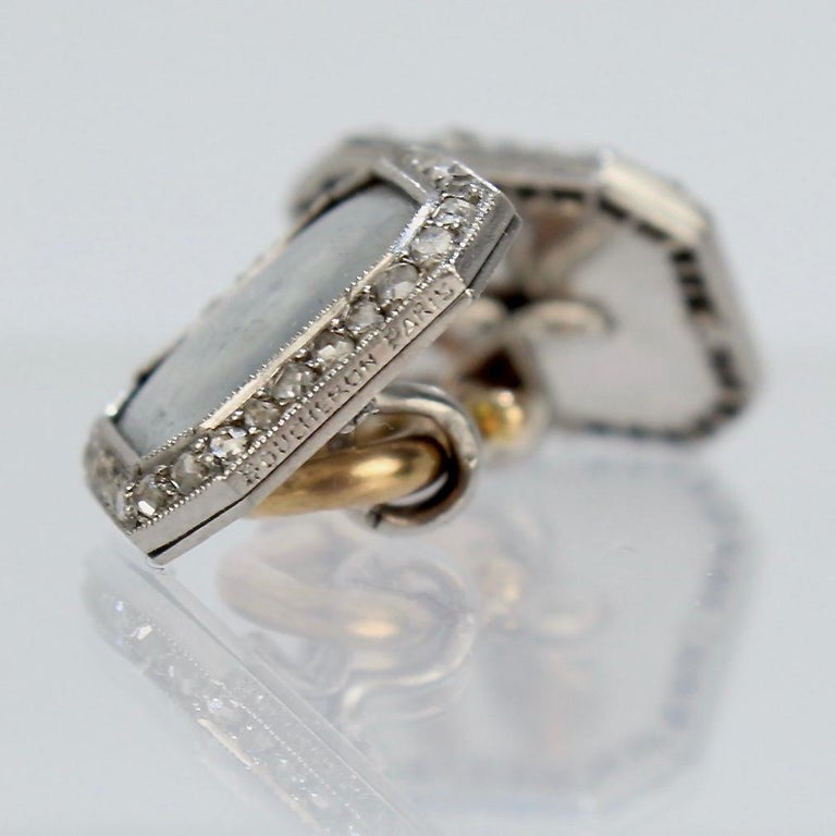 Antique Boucheron Platinum Diamond & 18 Karat Gold Cufflinks with Paillet Cameos For Sale 7