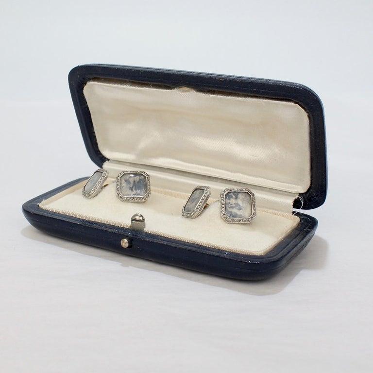 Antique Boucheron Platinum Diamond & 18 Karat Gold Cufflinks with Paillet Cameos For Sale 8