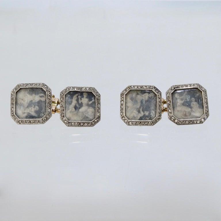 Belle Époque Antique Boucheron Platinum Diamond & 18 Karat Gold Cufflinks with Paillet Cameos For Sale