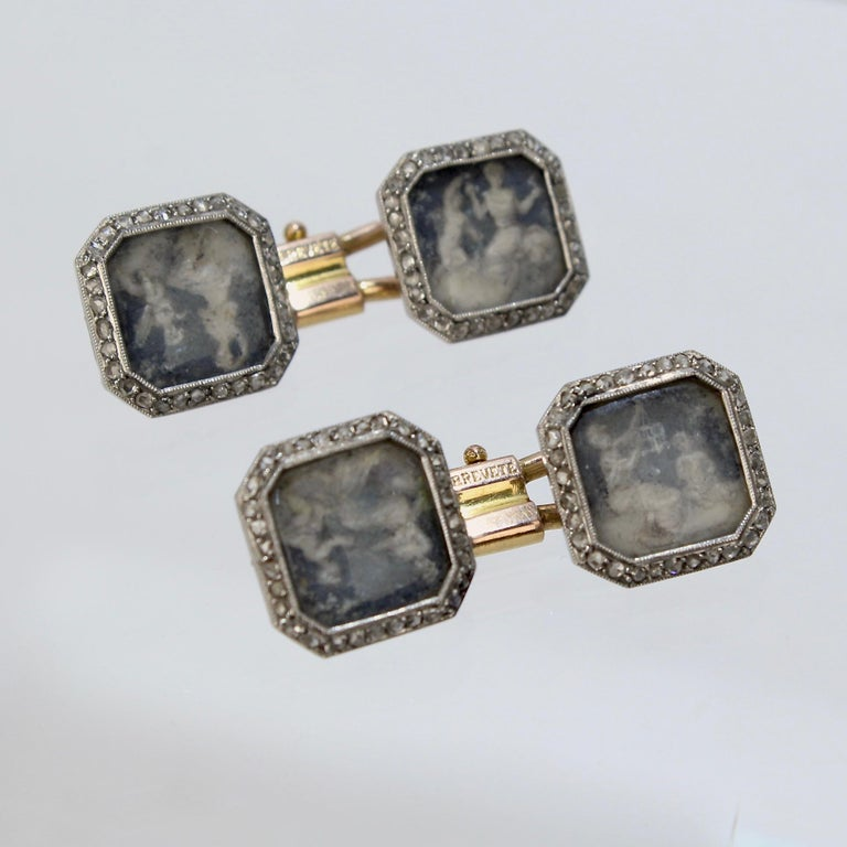 Antique Boucheron Platinum Diamond & 18 Karat Gold Cufflinks with Paillet Cameos In Good Condition For Sale In Philadelphia, PA