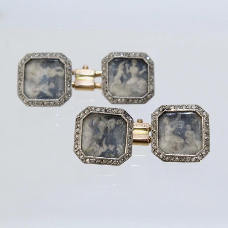 Women's or Men's Antique Boucheron Platinum Diamond & 18 Karat Gold Cufflinks with Paillet Cameos For Sale