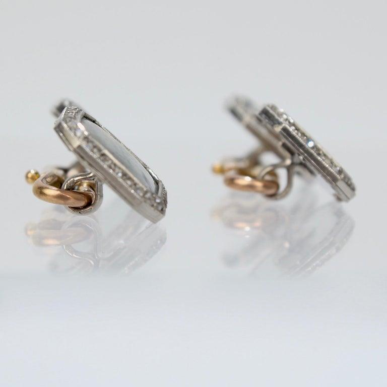Antique Boucheron Platinum Diamond & 18 Karat Gold Cufflinks with Paillet Cameos For Sale 1