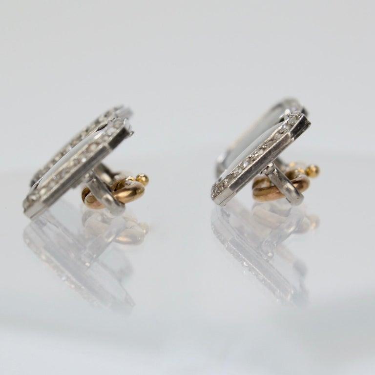 Antique Boucheron Platinum Diamond & 18 Karat Gold Cufflinks with Paillet Cameos For Sale 2