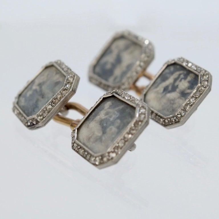 Antique Boucheron Platinum Diamond & 18 Karat Gold Cufflinks with Paillet Cameos For Sale 3