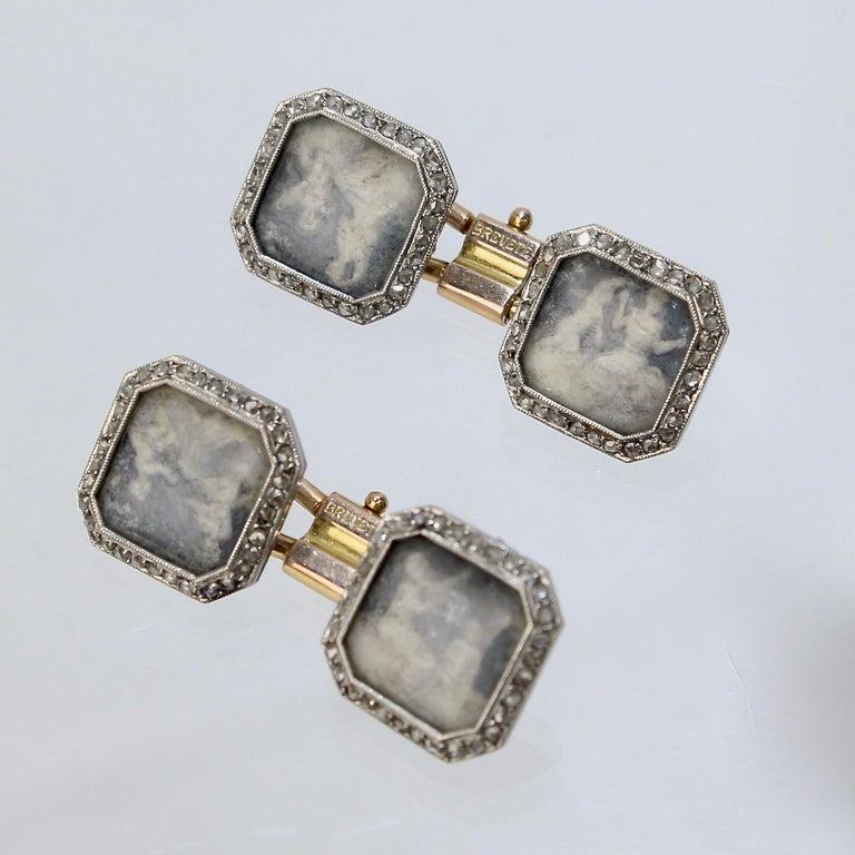 Antique Boucheron Platinum Diamond & 18 Karat Gold Cufflinks with Paillet Cameos For Sale 4