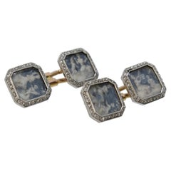 Antique Boucheron Platinum Diamond & 18 Karat Gold Cufflinks with Paillet Cameos