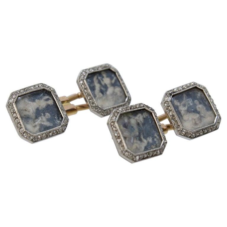 Antique Boucheron Platinum Diamond & 18 Karat Gold Cufflinks with Paillet Cameos For Sale