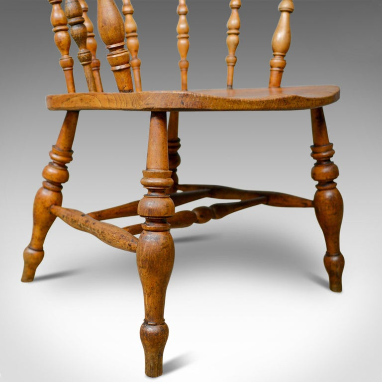 Antique Bow-Back Elbow Chair, English, Victorian, Smokers, Captains, circa 1890 For Sale 5