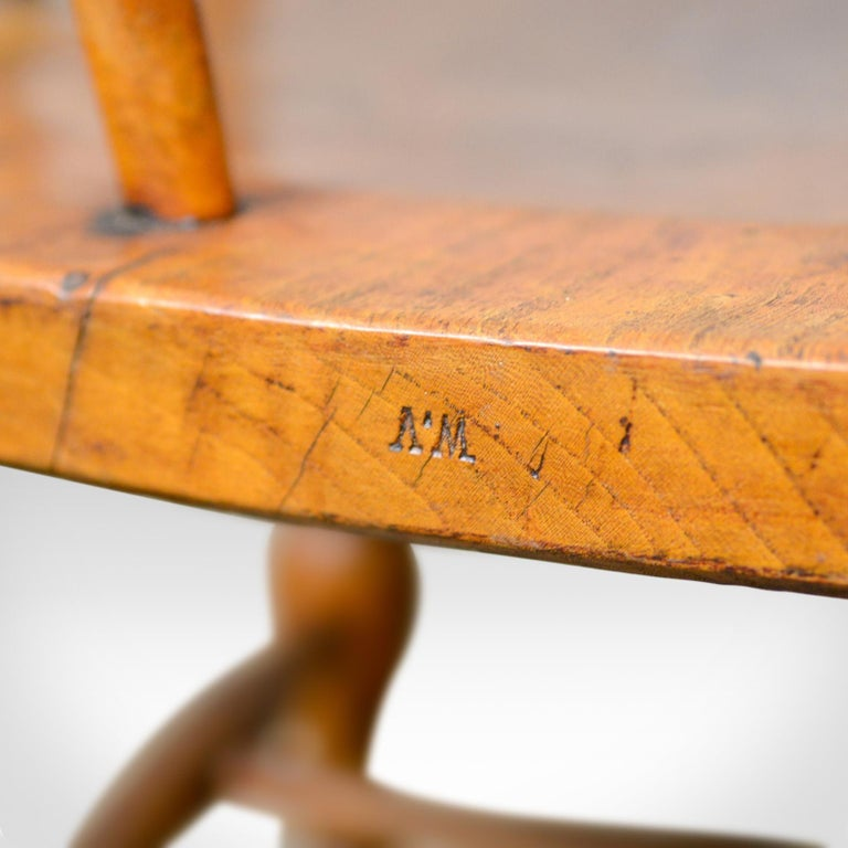Antique Bow-Back Elbow Chair, English, Victorian, Smokers, Captains, circa 1890 For Sale 6