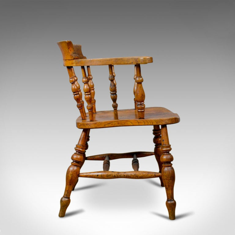 Antique Bow-Back Elbow Chair, English, Victorian, Smokers, Captains, circa 1890 In Good Condition For Sale In Taunton, GB