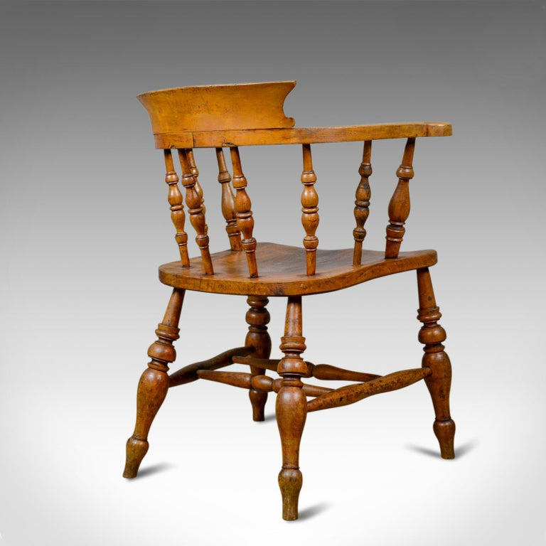 19th Century Antique Bow-Back Elbow Chair, English, Victorian, Smokers, Captains, circa 1890 For Sale