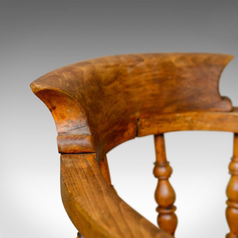 Elm Antique Bow-Back Elbow Chair, English, Victorian, Smokers, Captains, circa 1890 For Sale