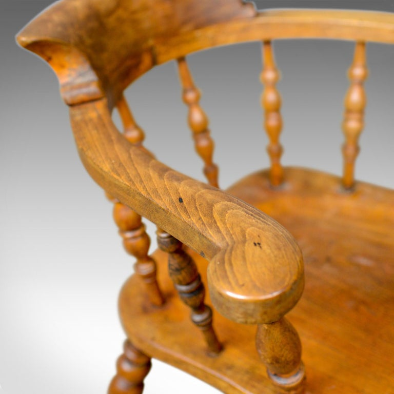 Antique Bow-Back Elbow Chair, English, Victorian, Smokers, Captains, circa 1890 For Sale 1