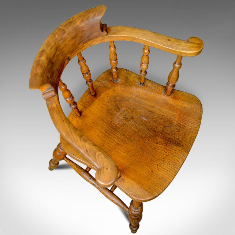 Antique Bow-Back Elbow Chair, English, Victorian, Smokers, Captains, circa 1890 For Sale 2