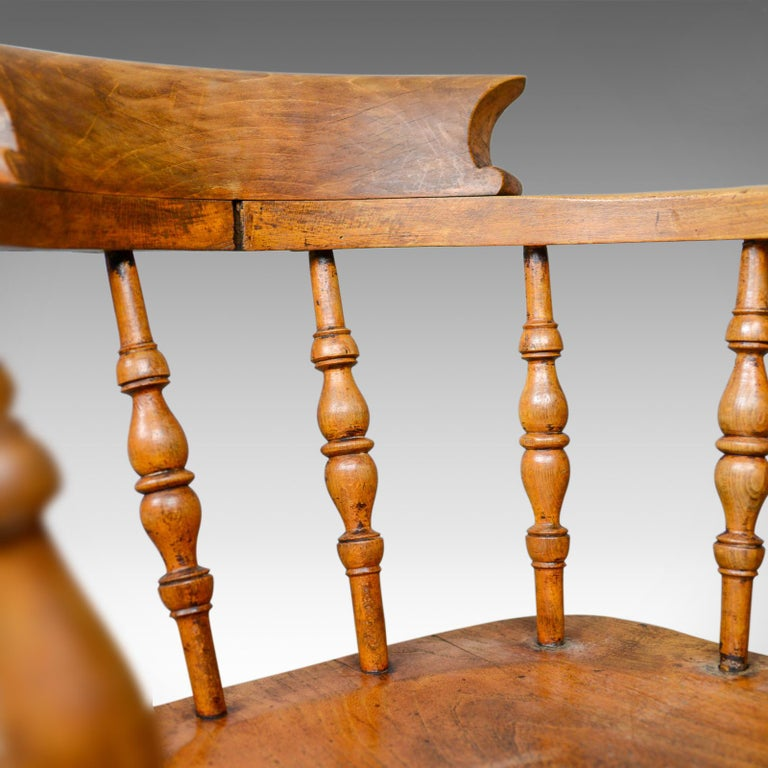 Antique Bow-Back Elbow Chair, English, Victorian, Smokers, Captains, circa 1890 For Sale 3