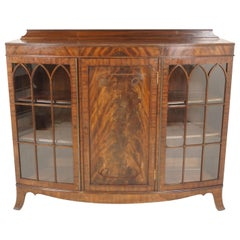 Antique Bow Front Mahogany Bookcase, 3 Door Display Cabinet, Scotland 1920 B2165
