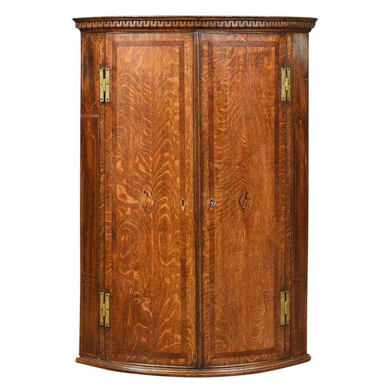 Antique Bow Fronted Corner Cabinet English Georgian Oak