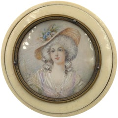 Antique Box Hand Painted Portrait Miniature French Lady in Hat