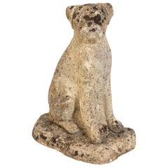 Antique Boxer Cast Stone Garden Ornament