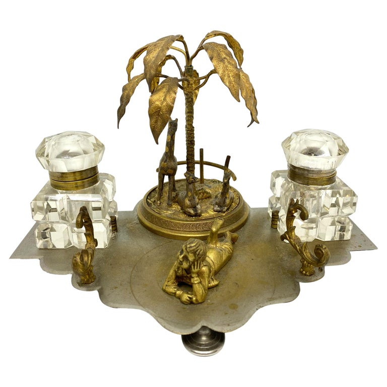 Antique Boy in Zoo Giraffe Tree Inkwell Metal and Crystal Glass, Austria, 1890s For Sale