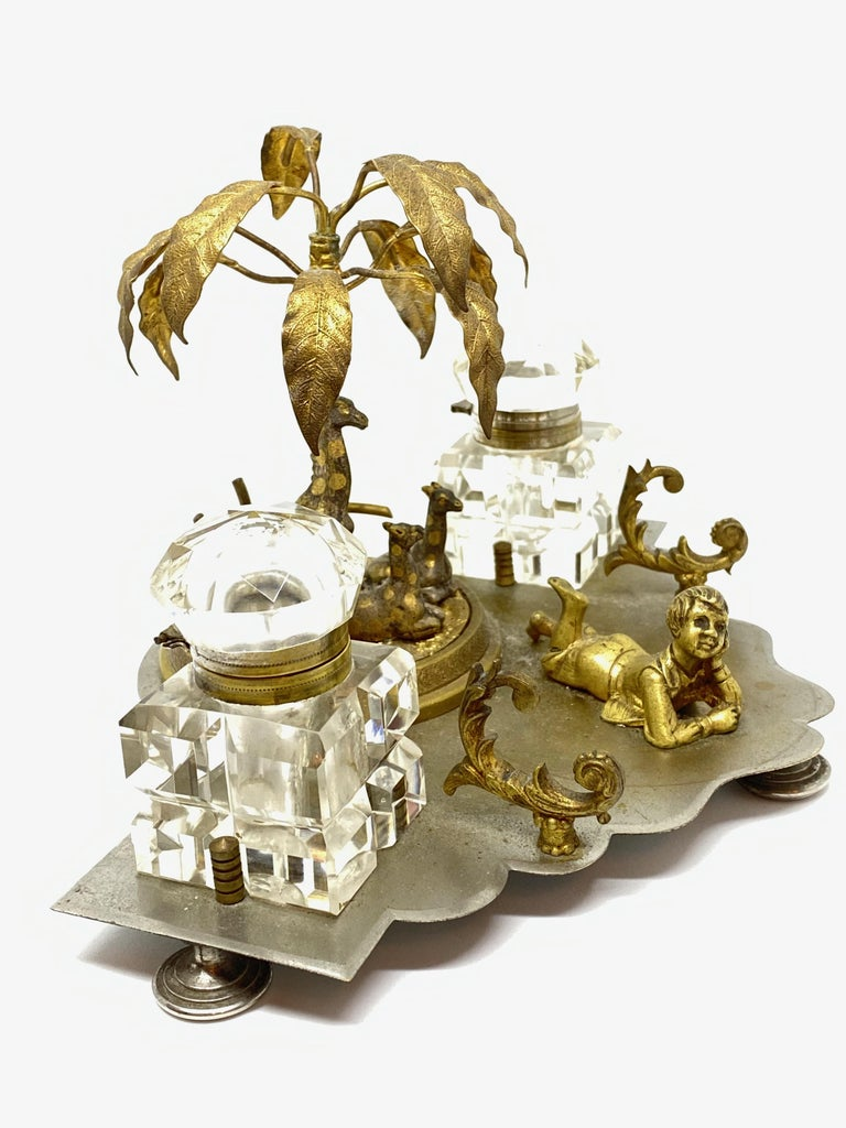 Antique Boy in Zoo Giraffe Tree Inkwell Metal and Crystal Glass, Austria, 1890s For Sale 5
