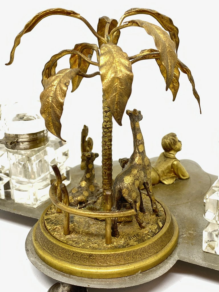 Antique Boy in Zoo Giraffe Tree Inkwell Metal and Crystal Glass, Austria, 1890s For Sale 6
