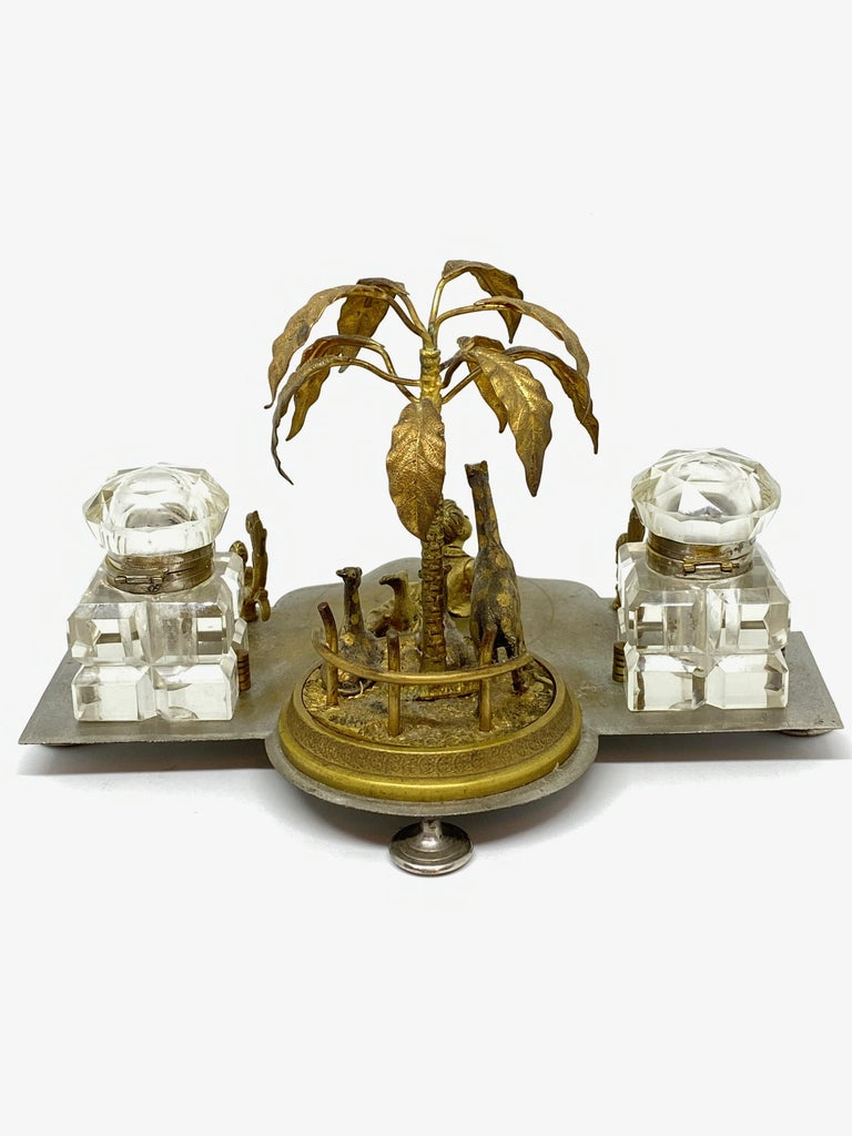 Antique Boy in Zoo Giraffe Tree Inkwell Metal and Crystal Glass, Austria, 1890s For Sale 7