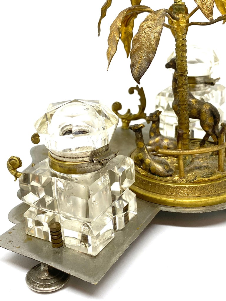 Antique Boy in Zoo Giraffe Tree Inkwell Metal and Crystal Glass, Austria, 1890s For Sale 8