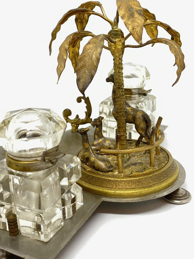 Antique Boy in Zoo Giraffe Tree Inkwell Metal and Crystal Glass, Austria, 1890s For Sale 9