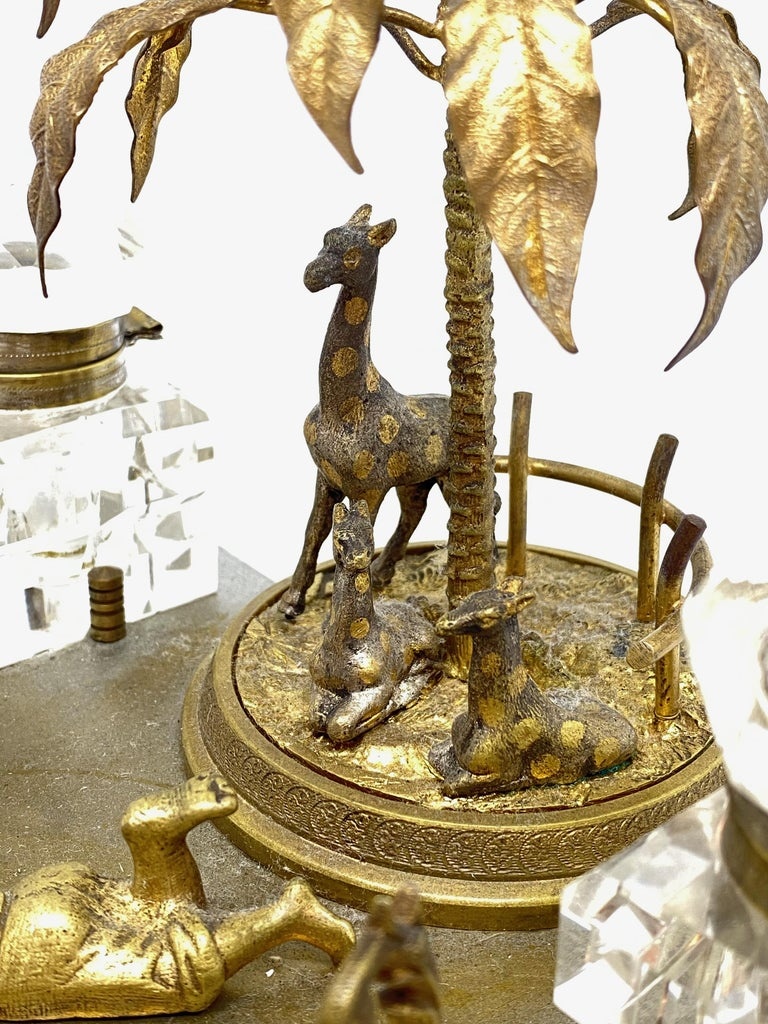 Antique Boy in Zoo Giraffe Tree Inkwell Metal and Crystal Glass, Austria, 1890s For Sale 10
