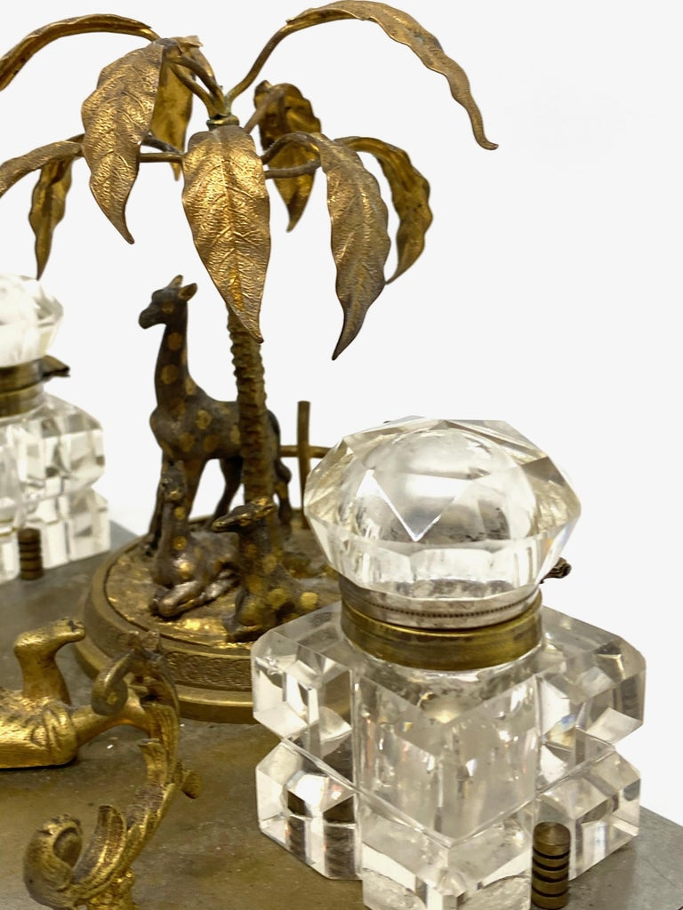 Antique Boy in Zoo Giraffe Tree Inkwell Metal and Crystal Glass, Austria, 1890s For Sale 11