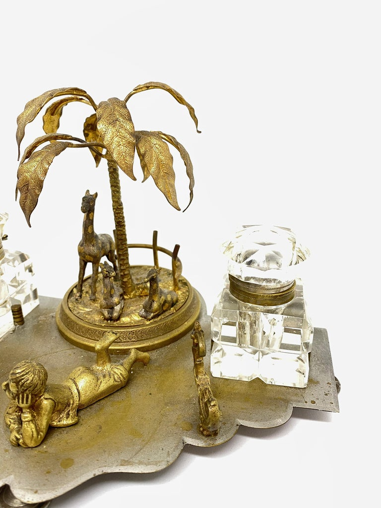 Art Nouveau Antique Boy in Zoo Giraffe Tree Inkwell Metal and Crystal Glass, Austria, 1890s For Sale