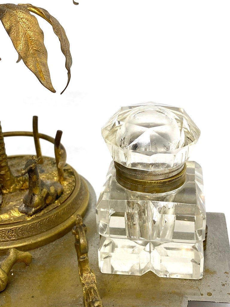 Austrian Antique Boy in Zoo Giraffe Tree Inkwell Metal and Crystal Glass, Austria, 1890s For Sale