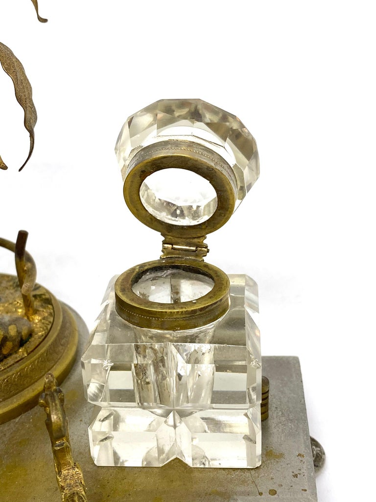 Antique Boy in Zoo Giraffe Tree Inkwell Metal and Crystal Glass, Austria, 1890s In Good Condition For Sale In Nürnberg, DE