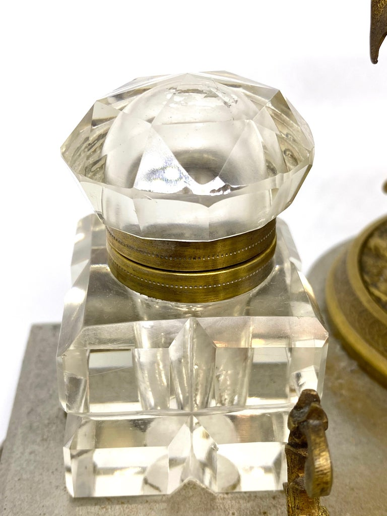 19th Century Antique Boy in Zoo Giraffe Tree Inkwell Metal and Crystal Glass, Austria, 1890s For Sale