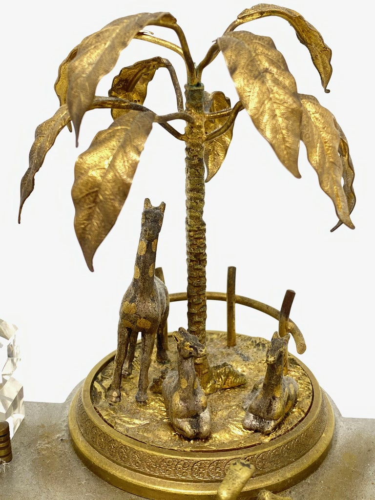 Antique Boy in Zoo Giraffe Tree Inkwell Metal and Crystal Glass, Austria, 1890s For Sale 2