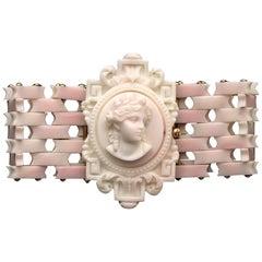 Antique Gold Pink Coral Cameo Bracelet