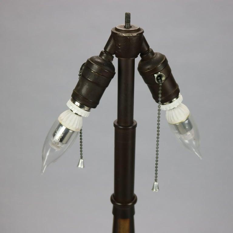 Antique Bradley & Hubbard Arts & Crafts Slag Glass Table Lamp, Circa 1920 For Sale 8