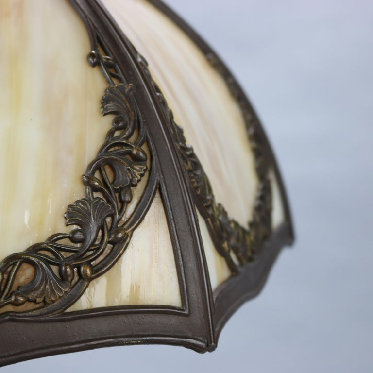 Arts and Crafts Antique Bradley & Hubbard Arts & Crafts Slag Glass Table Lamp, Circa 1920 For Sale