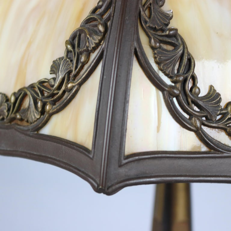 American Antique Bradley & Hubbard Arts & Crafts Slag Glass Table Lamp, Circa 1920 For Sale